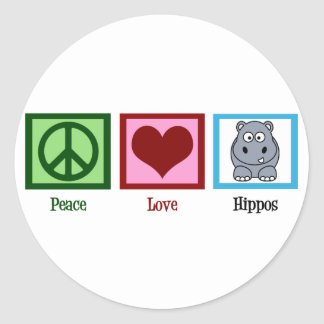 Hipopótamos del amor de la paz pegatinas redondas