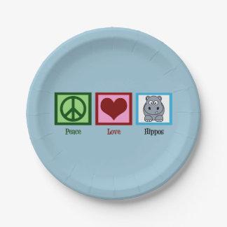 Hipopótamos del amor de la paz plato de papel de 7 pulgadas