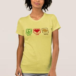 Hipopótamos del amor de la paz camisetas