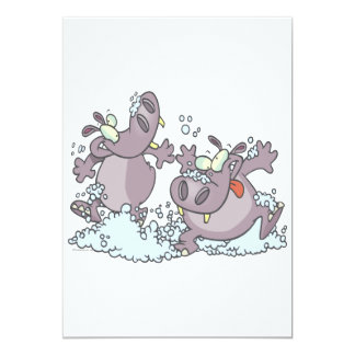 hipopótamos divertidos del juerguista en dibujo anuncio personalizado