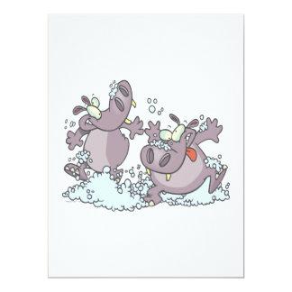 hipopótamos divertidos del juerguista en dibujo anuncio