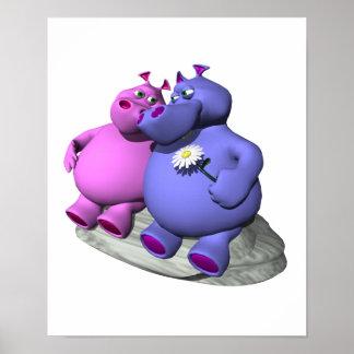 hipopótamos en amor impresiones