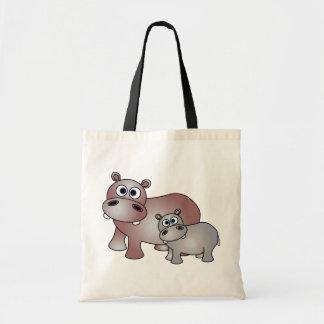 Hipopótamos lindos mamá y bebé bolsa