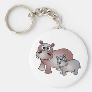 Hipopótamos lindos mamá y bebé llavero redondo tipo pin