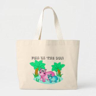 Hipopótamos lindos mamá y natación del bebé bolsa tela grande