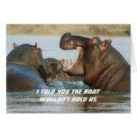 Hipopótamos que adietan la tarjeta divertida del e