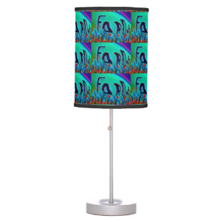 Hippie abstract colorburst accent table lamp