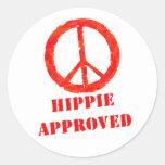 Hippie aprobado pegatinas redondas