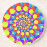 Hippie Art Rainbow Spiral Fractal Beverage Coasters