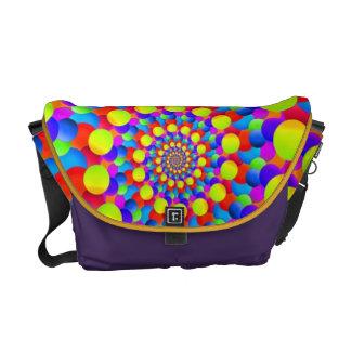 Hippie Art Rainbow Spiral Fractal Messenger Bags