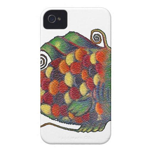 Hippie artsy de los pescados caprichosos impresion iPhone 4 protector