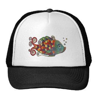 Hippie artsy de los pescados caprichosos impresion gorro de camionero