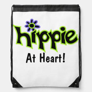 Hippie at Heart Black Lime Green Art Custom Drawstring Backpack