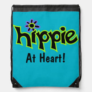 Hippie at Heart Black Lime Green Art Teal Custom Drawstring Bag