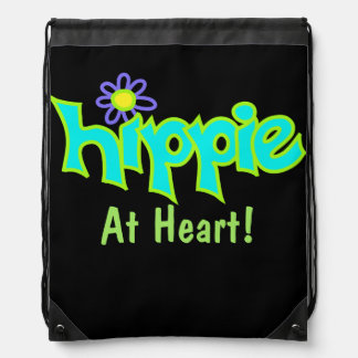 Hippie at Heart Turquoise Aqua Blue Art Black Drawstring Backpack