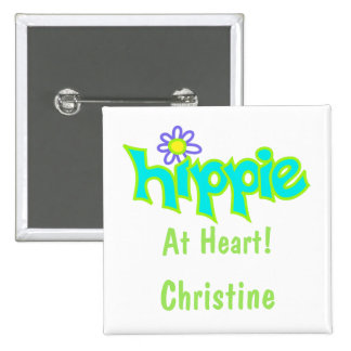 Hippie at Heart Turquoise Art Name Badge Button