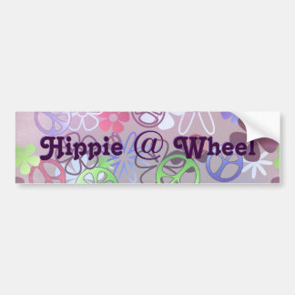 Hippie at Wheel Bumper Sticker Car Bumper Sticker