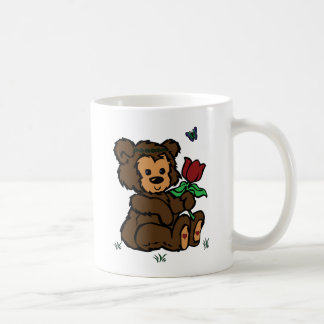 Hippie Bear Headband Flower Butterfly Coffee Mug