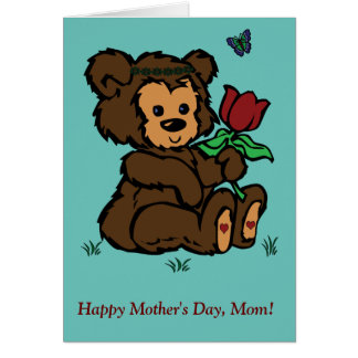 Hippie Bear Headband Flower Butterfly Mothers Day Card