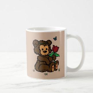Hippie Bear Headband Flower Butterfly Classic White Coffee Mug