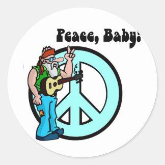 Hippie: Bebé de la paz Pegatina Redonda