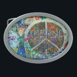 """Hippie Belt Buckle<br><div class=""""desc"""">Peace sign and wall art.</div>"""