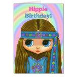 Hippie Birthday! Cute Blue Hippie Girl Doll Card
