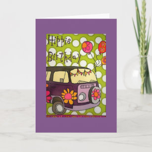 Hippie Birthday Greeting Card Birthday