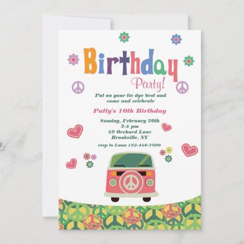 Hippie Birthday Party Invitation