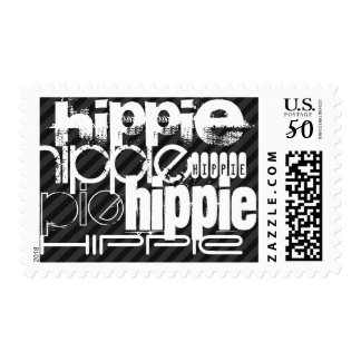 Hippie; Black & Dark Gray Stripes Postage