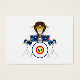 Hippie Boy with Drums Business Card