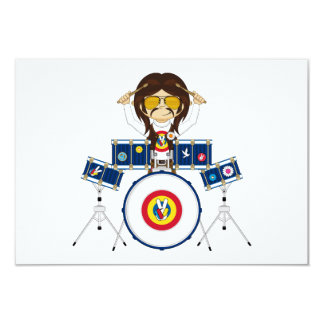 Hippie Boy with Drums Card
