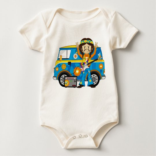Hippie Boy with Guitar and Camper Van Baby Bodysuit