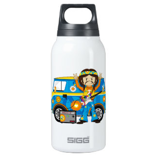 Hippie Boy with Guitar and Camper Van Insulated Water Bottle