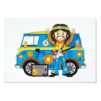Hippie Boy with Guitar and Camper Van 3.5x5 Paper Invitation Card