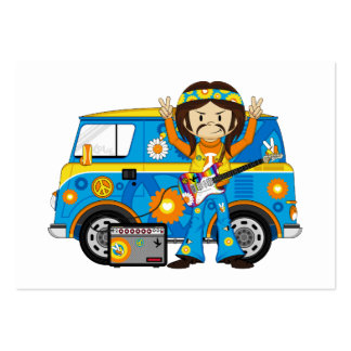 Hippie Boy with Guitar and Camper Van Large Business Card