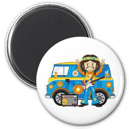 Hippie Boy with Guitar and Camper Van 2 Inch Round Magnet