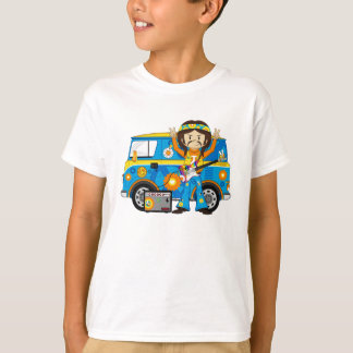 Hippie Boy with Guitar and Camper Van T-Shirt