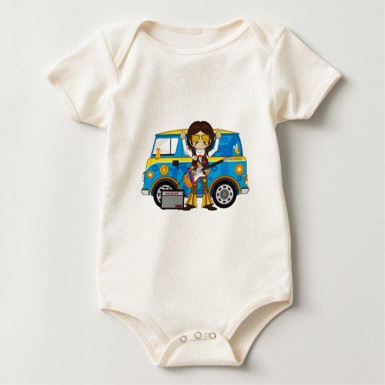 Hippie Boy with Guitar & Camper Van Baby Bodysuit