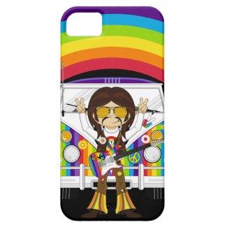 Hippie Boy with Guitar & Camper Van Iphone 5 Covers