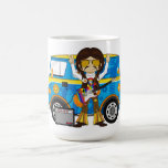 Hippie Boy with Guitar & Camper Van Coffee Mug