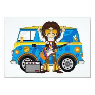 Hippie Boy with Guitar & Camper Van 3.5x5 Paper Invitation Card