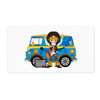 Hippie Boy with Guitar & Camper Van Label
