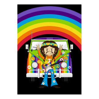 Hippie Boy with Guitar & Camper Van Large Business Card