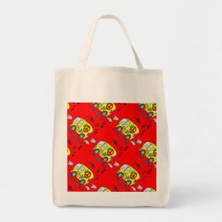 Hippie Bus Flower Power Design Tote Bag
