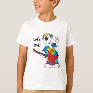 Hippie Cartoon Guitar Bear T-Shirt