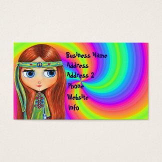 Hippie Chick 1960s Tie Dye Big Eye Doll Business Card