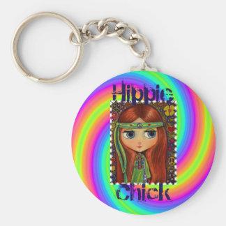 Hippie Chick 1960s Tie Dye Big Eye Doll Headband Keychain