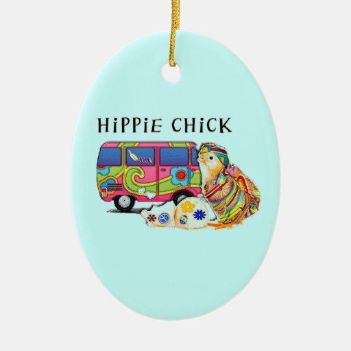Hippie Chick Christmas Ornaments