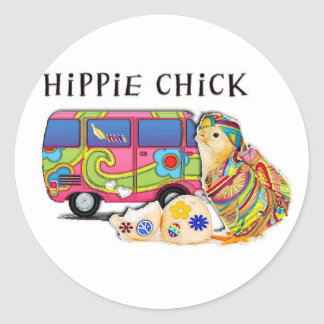 Hippie Chick Classic Round Sticker
